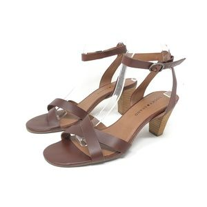 Lucky Brand Brown Two Strap Cone Heels sz 9
